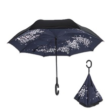 Cherry Blossoms Folding Double Layer Inverted Umbrella Self Stand Inside Out Rain Protection Long C-Hook Hands For Car 15pcs windproof reverse folding double layer inverted chuva umbrella self stand inside out rain protection c hook hands for car