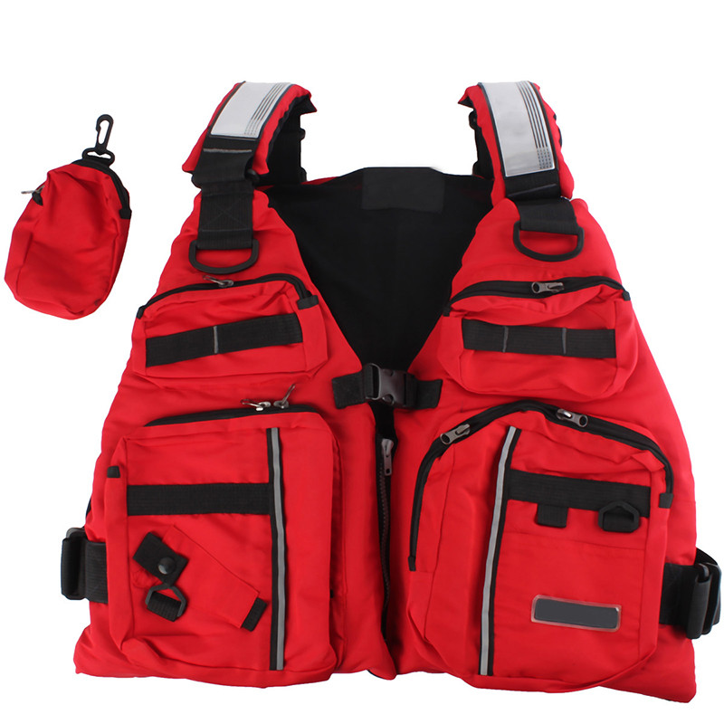 Adjustable Adult Life Jacket Vest Fishing Aid Sailing Surfing Kayak Boating Outdoor Sports With Multi-Pockets Safe Fishing Vest outdoor sports pockets sv012199