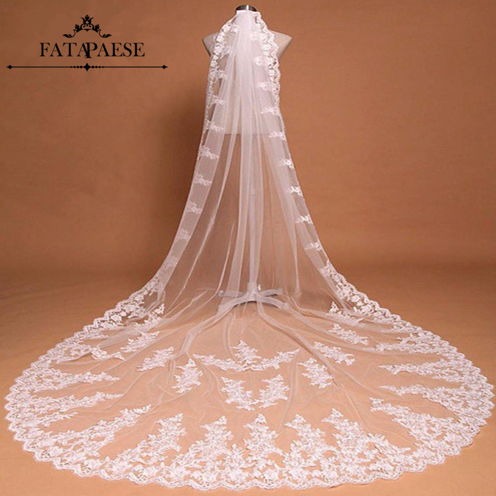 Voile Mariage 3M Lace Edge 2 Layers White Ivory Long Wedding Veils Soft Tulle Wedding Accessories Bridal Veils Velo De Novia