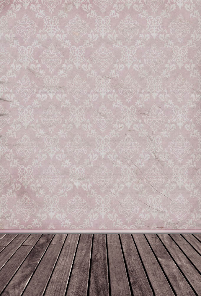 Laeacco Retro Damask Pattern Wall Wood Floor Photography Backgrounds Vinyl Custom Camera Photographic Backdrops For Photo