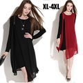 2015European Women Long Sleeve Chiffon Dress irregular hem spring large size oblique zipper asymmetrical faux two vestidos XXXXL