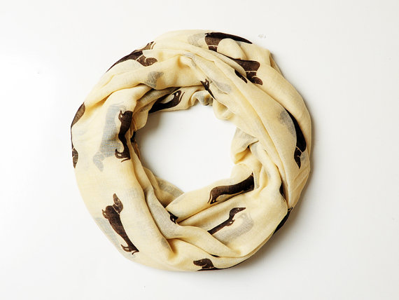 Camel Dachahund Dog Print Infinity Scarf Women's Accessories Gift Ideas