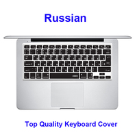 Black Color Skin Silicone Laptop Notebook Russian Keyboard Protector Cover Protective Film For Apple Macbook Pro