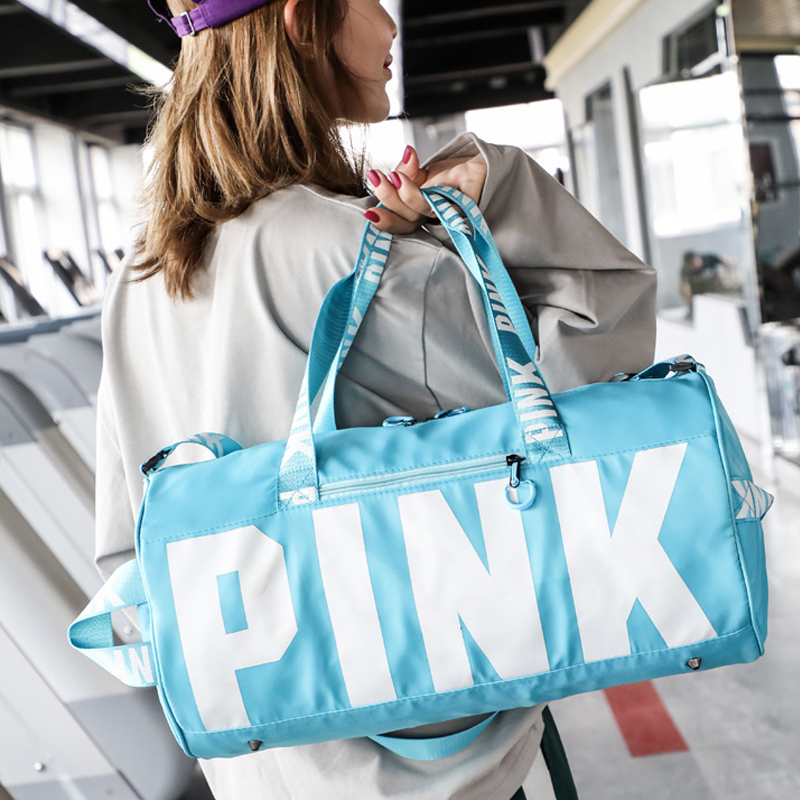 New Women PINK Gym Bag Fitness Yoga Sports Bag For Shoe Storage Travel Sac De Shoulder Sports Bags Duffle Waterproof Luggage