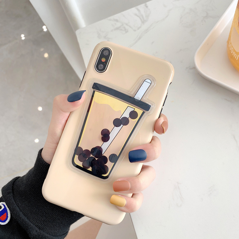 Squishy <font><b>Liquid</b></font> Quicksand Bubble Tea Phone <font><b>Case</b></font> for iPhone XS MAX XR X 8 7 6S 6 Plus Soft Back <font><b>Cover</b></font> for <font><b>OPPO</b></font> for Huawei Coque image