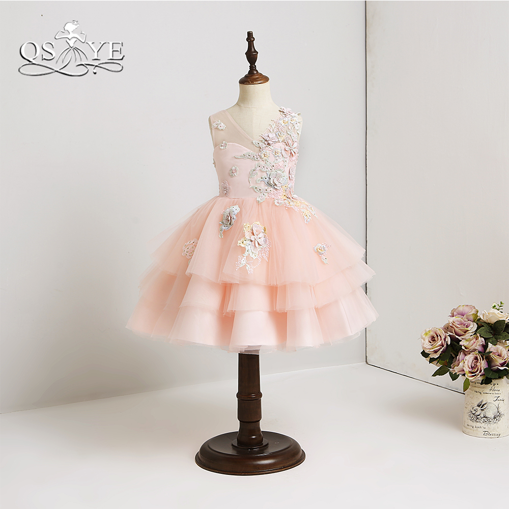 QSYYE 2018 Pink   Flower     Girl     Dresses   Lovely 3D Floral   Flower   Tiered Tulle Little   Girls   Prom   Dress   Pageant Gown Custom Made