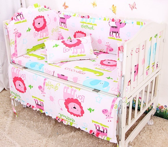 Promotion! 6PCS Cotton Baby crib cot bedding set Bed Sheet Pillowcase Cute Cartoon  ,include(bumpers+sheet+pillow cover) discount 6pcs baby bedding set crib bed set cartoon baby crib set include bumper sheet pillowcase