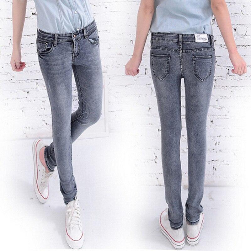 #099 2016 New Fashion Black Gray Denim Womens Jeans Pencil Pants Skinny Jeans Pants Female Plus Size 26~32 Free Shipping