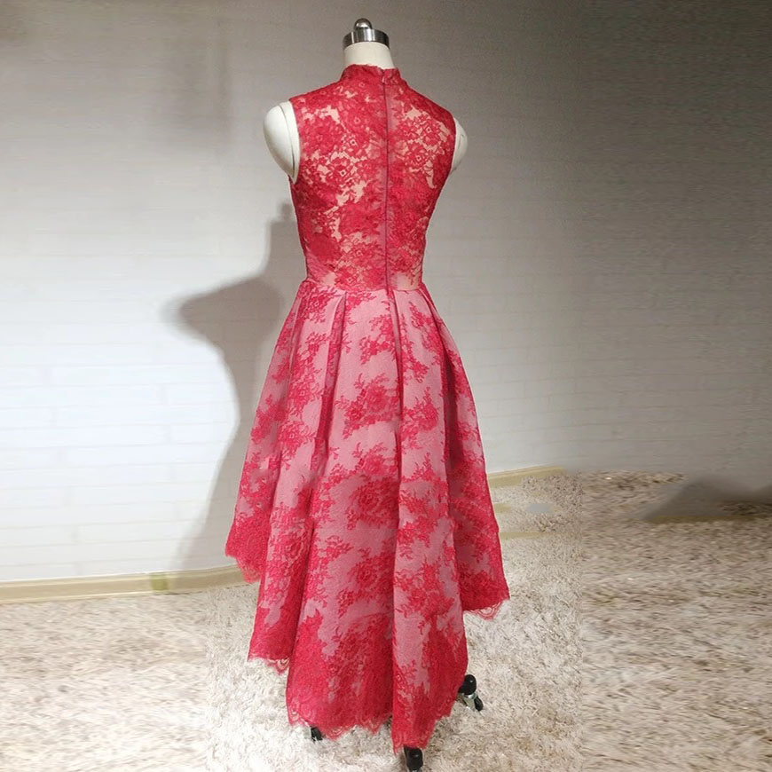 Suadi Arabic Red High Low Evening Dresses 2018 Lace High Collar ...