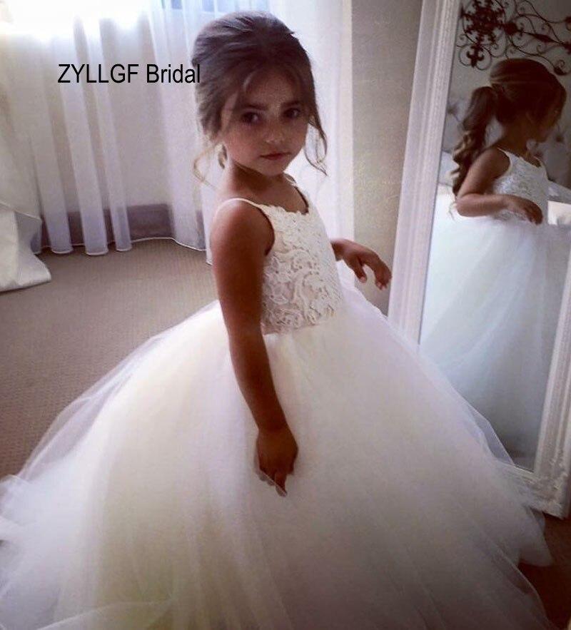 ZYLLGF robe de mariée bouffante col en V longue longueur de plancher robe de demoiselle d'honneur Tulle filles robes de reconstitution historique taille 10 12 fabriqué en chine FP6