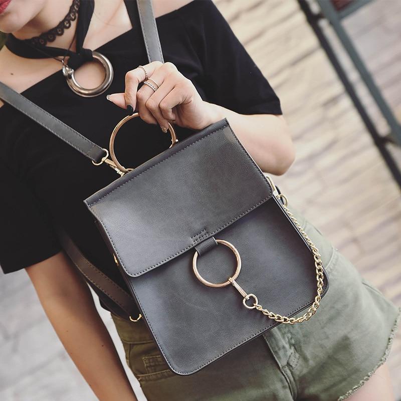 New Fashion Multi-functional Female Shopping Bag double shoulder bag Round Hasp Chain Shoulder Bag Fashion Backpack цена