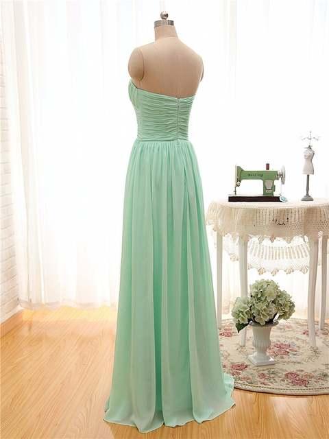 2019 Long Cheap Mint Green Bridesmaid Dresses Under 50 Floor Length Chiffon  a-Line Vestido e8fa707fd8d3