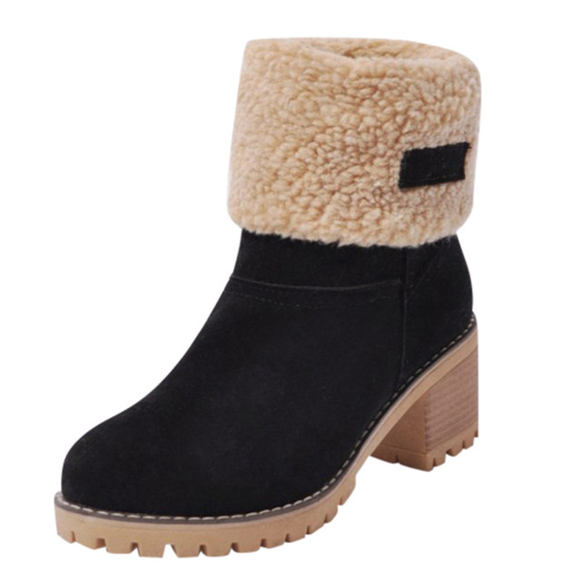 Women's Shoes Snowboots Ladies Winter Flock Shoes Flock Warm Boots Martinas Snow Boots Short Bootie Slip-On Outside Shoes Botas