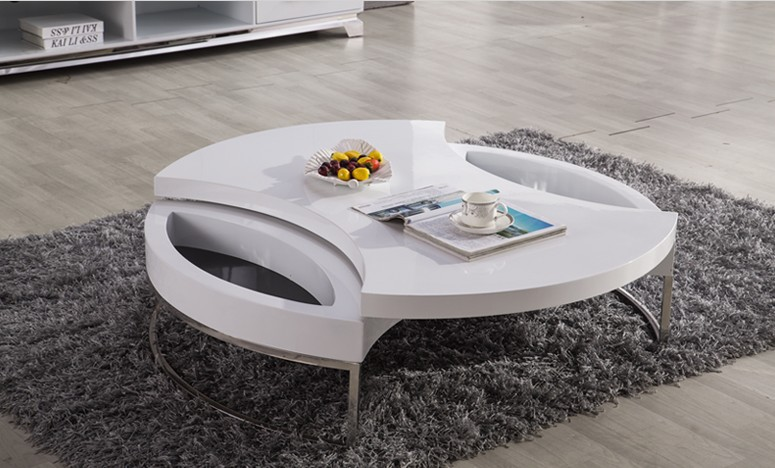 Wonderful Coffee Table / Tea Table, Modern Design, MDF+Specular Paint Stainless Steel  Bracket, Can Rotate With Storage Round Table 4G 068# In Coffee Tables From  ...