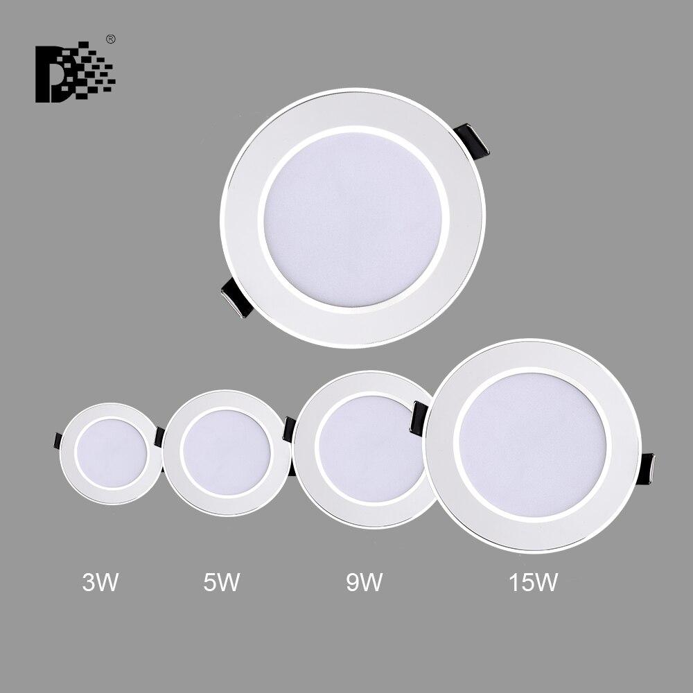 Led Downlight 3W 5W 9W 15W 220V-240V LED Ceiling Bathroom Lamps Living Room Light Home Indoor Lighting Free Shipping