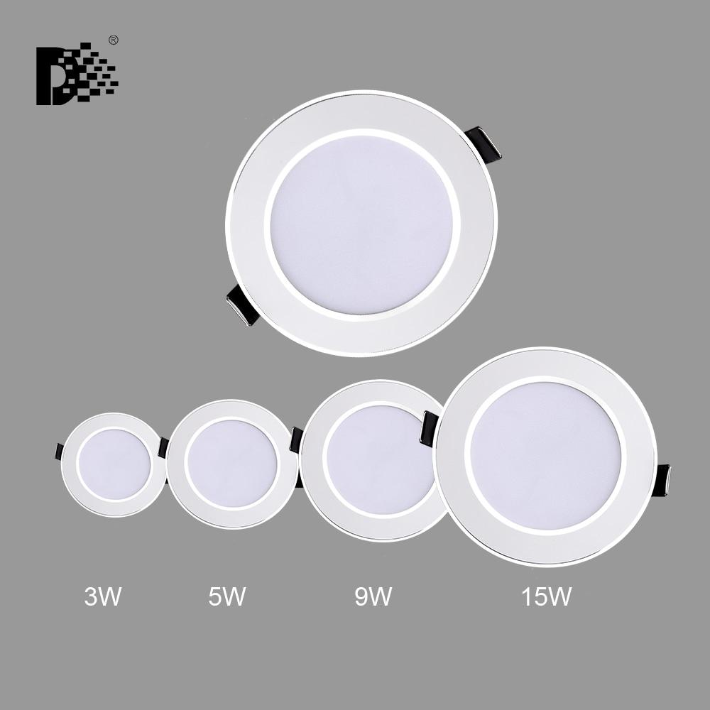 Luminaires de salle de bain en gros, Downlight en gros 3W 5W 15W 220 V-240 V, lampes de salle de bains, éclairage intérieur du salon, livraison gratuite