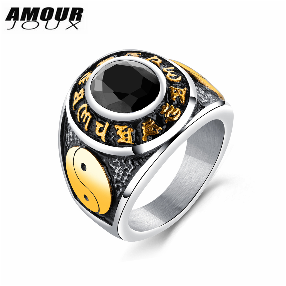 AMOURJOUX Chinese Yin Yang Retro White/Gold Color Band Red/White/Black Round Glass 316L Stainless Steel Rings For Men
