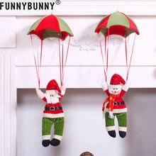 FUNNYBUNNY Xmas Tree Ceiling Decor Santa Claus Snowman Parachute Doll Hanging Pendant Toys