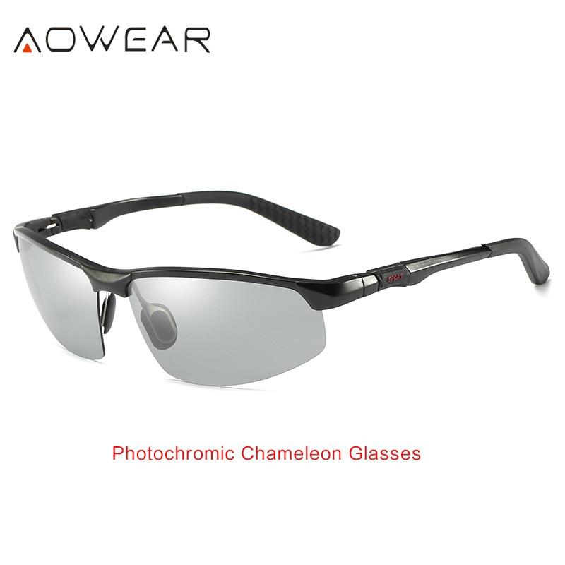 AOWEAR HD мужские фотохромные поляризованные солнцезащитные очки, мужские поляризованные очки-хамелеоны для дневного ночного вождения, антибликовые очки Gafas - Цвет линз: Black