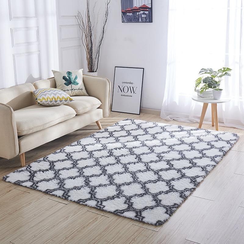 Épaissi lavé soie cheveux tapis antidérapant salon table basse couverture chambre chevet tapis yoga tapis solide couleur peluche - 2