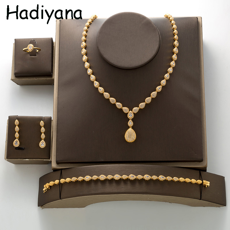 HADIYANA New Choker Necklace Earrings Bracelet Ring Set For Women Party Daily High Quality Cubic Zirconia TZ8137 Bisuteria