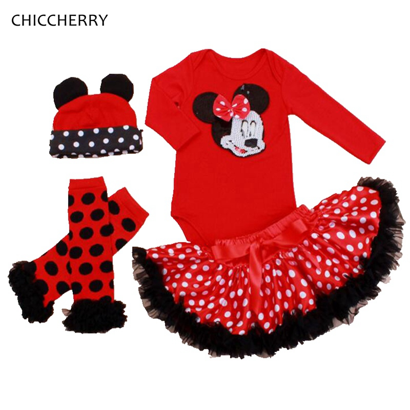 Red Baby Girl Clothes Sequins Minnie Newborn Bodysuit Set Dots Hat & Legwarmers Party Lace Tutu Skirt Roupa Bebe Infant Jumpsuit