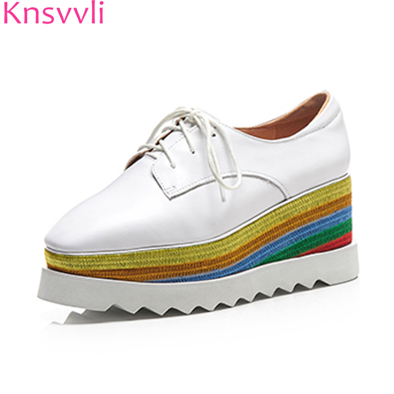 Knsvvli platform shoes woman thick bottom black patent leather casual shoes ladies rainbow heel lace up wedges shoes for women beffery 2018 british style patent leather flat shoes fashion thick bottom platform shoes for women lace up casual shoes a18a309