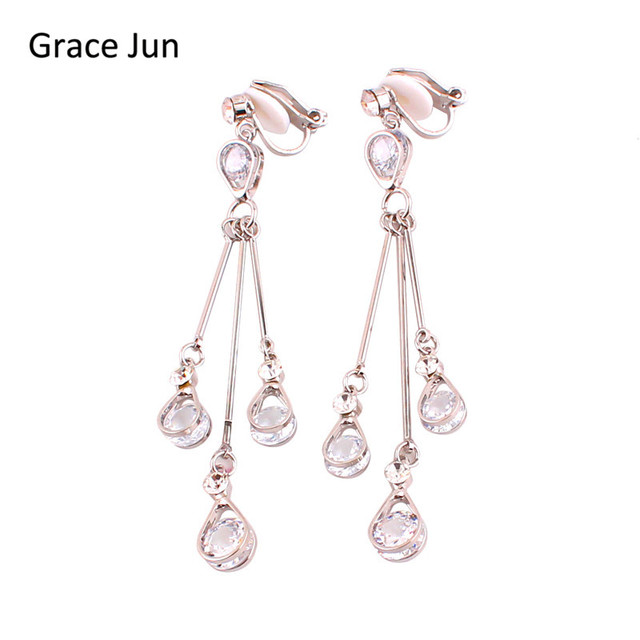 Grace Jun High-grade Full AAA Cubic Zircon Long Tassel Clip on Earrings Non Piercing for Women Elegant Jewelry Ear Clip Bijoux