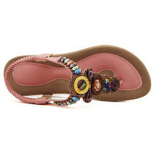 Size 36-42 2018 Bohemian Women Sandals Gemstone Beaded Slippers Summer Beach Sandals Women Flip Flops Ladies Flat Sandals Shoes