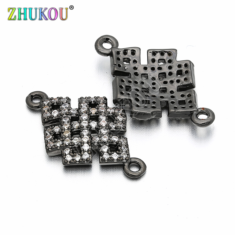 13*22mm Brass Cubic Zirconia Chinese Knot Connectors For Diy Bracelet & Bangle Jewelry Findings, Model: VS18