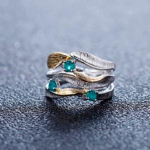 Image 2 - Gemmes BALLET en argent Sterling 925, anneaux torsadés pour femmes, bijoux fins, bandes faites à la main, 0.47ct, pierres précieuses en Agate verte naturelle