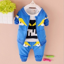 Boys cartoon monster clothing set coat t shirt pants 3 pcs fashion infant boys autumn jacket