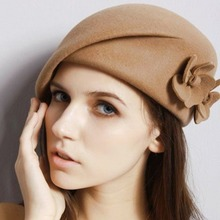 LEAYH Autumn and Winter 100% Wool Berets Women Lady's Felt Top Hat Fashion Party Accessories French Floral Fedora Caps