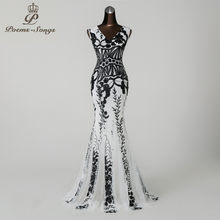 Poems songs 2019 Elegant Mermaid black Flower Sequin Dresses vestido de festa Sexy Backless robe longue Party Maxi Dresses(China)