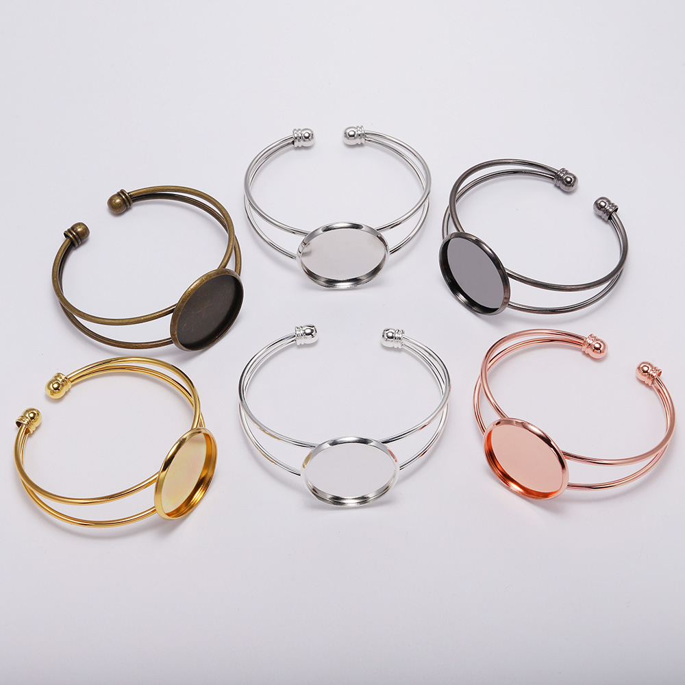 18 20 25mm Silver Gold Bangle Cabochon Base Cuff Bracelet Blank Tray Bezels Setting Cabochon Supplies For Jewelry Making Finding