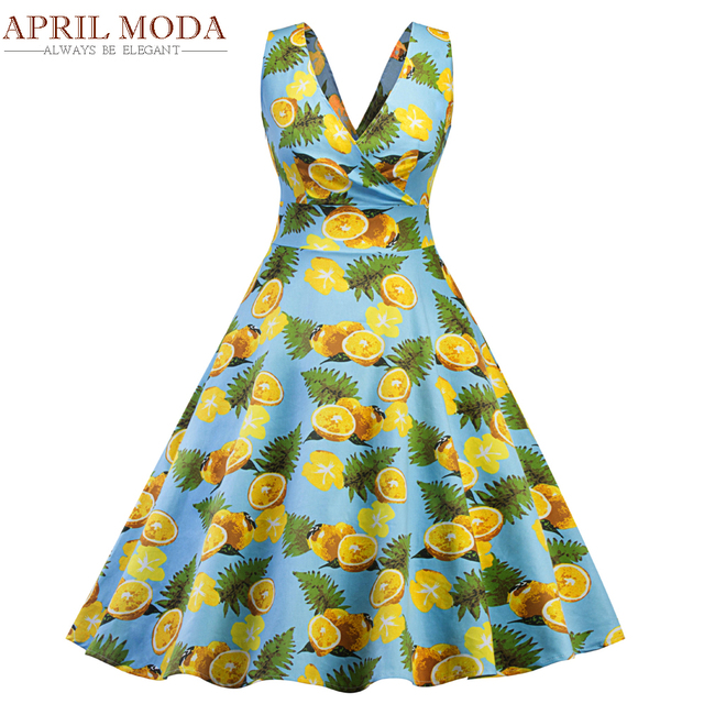 Audrey Hepburn Style Women Summer Dress Party Gowns Lemon Printed ...