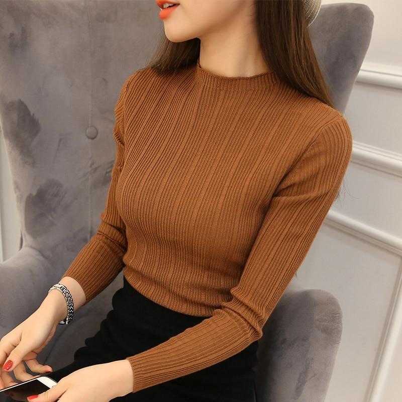 2018 New High Quality Autumn Winter Women Sweater Pullovers <font><b>Knitwear</b></font> Solid Half Turtleneck Long Sleeve Sexy Slim Chandail Femme