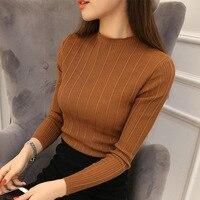 2018 neue Hohe Qualität Herbst Winter Frauen Pullover Pullover Strickwaren Solide Halb Rollkragen Long Sleeve Sexy Dünne Chandail Femme
