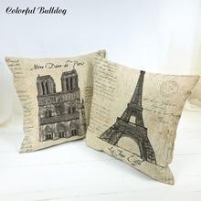 Funda De cojín Vintage La Jour Eiffel Notre Dame De París Chateaux de Versalles Arc De Triomphe De 45*45cm sofá decoración para asiento de coche