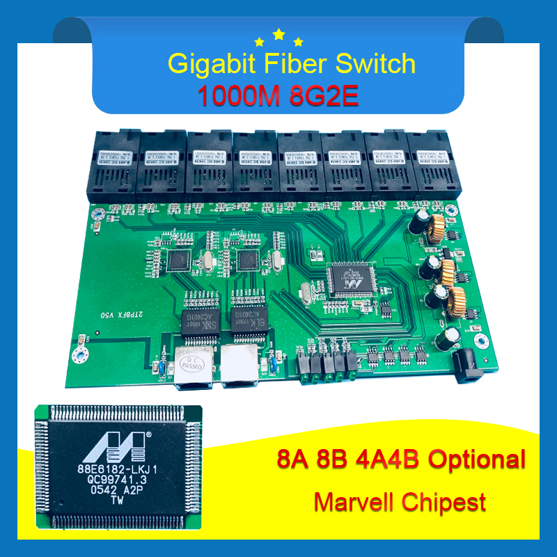 8G2E Big Board Industrial Grade Gigabit Ethernet Switch 8 1 25G Fiber Port 2 1000M RJ45
