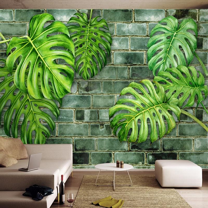 Custom 3D Wall Murals Wallpaper Nordic Hand Painted Plants