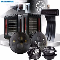 For Jeep Wrangler JK TJ 45w 7Inch H4 Projector Headlamp With 4Inch Round Led Fog Lights