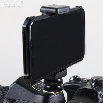 "1/4"" Flash Hot Shoe Screw Adapter Tripod Mount + Phone Clip Holder For Canon Nikon Sony All DSLR Camera"