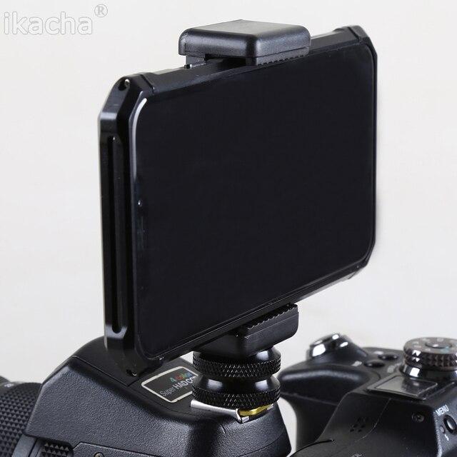 """1/4 """"פלאש חם נעל בורג מתאם חצובה הר + טלפון קליפ מחזיק עבור Canon Nikon Sony כל DSLR מצלמה"""