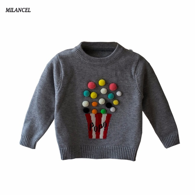 Milancel 2017 Autumn Baby Girls Sweater Kids Knitwear Popcorn ...