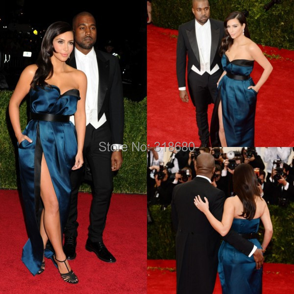 91411cdffd54 Navy Blue Side Slit Kim Kardashian Celebrity Dresses Red Carpet Long  Evening Dress