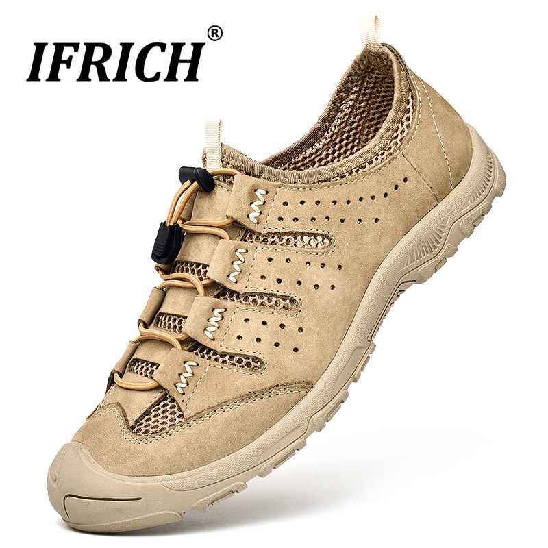 Casual Brand Men Leather Shoes Summer Outdoor Army Tactical Shoes Mens Young Fashion Mesh Breathable Sneakers Rubber Flat Shoes in Men 39 s Casual Shoes from Shoes