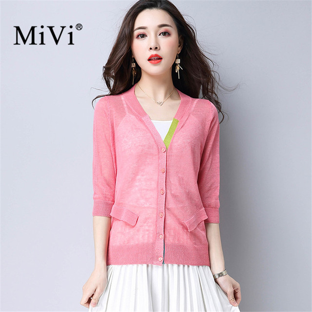 Summer Cardigan Women V Neck Thin Knitted Sweaters Pockets Buttons ...