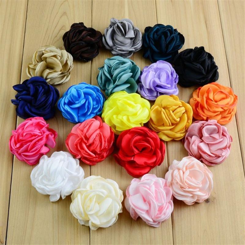 Фото 30pcs/lot 24 Color U Pick 2 Inch Satin Ruffled Rosette Flowers Burned DIY Garment Wedding Decoration Hair Accessories MH93