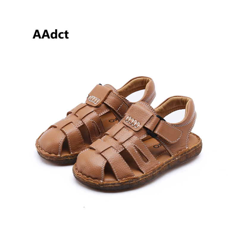 AAdct 2018 soft sole Handmade boys sandals Retro Comfortable girls sandals Brand High-quality summer new children shoes sports